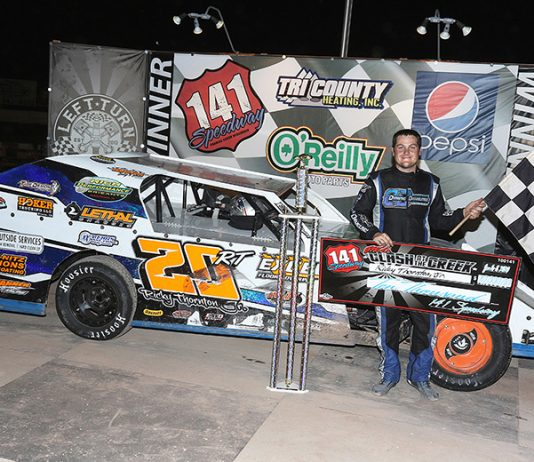 Ricky Thornton Jr. led all 50 laps in winning a third straight IMCA Modified Clash at the Creek Thursday night at 141 Speedway. The checkers were good for $10,000. (Joe Slack Photo)