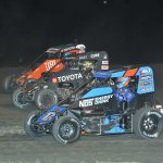 Ricky Stenhouse Jr. (17), Cannon McIntosh (71k) and Kaylee Bryson battle during Wednesday's Indiana Midget Week feature at Gas City I-69 Speedway. (Randy Crist photo)