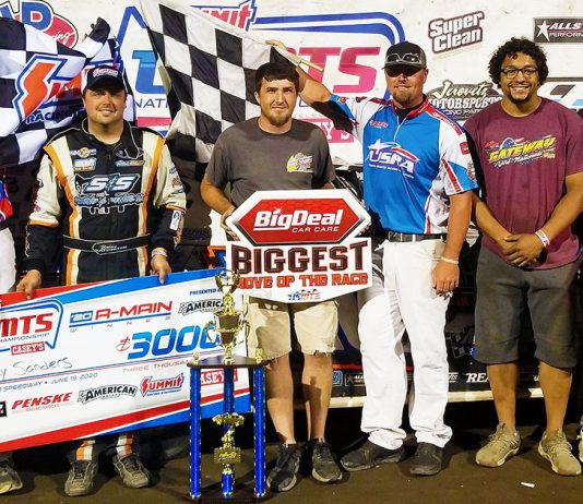 Rodney Sanders in USMTS victory lane Friday at Rapid Speedway. (Joel Vis Photo)