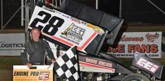 Tim Shaffer in victory lane at Attica Raceway Park. (Mike Campbell photo)