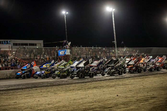 The field for Friday's World of Outlaws NOS Energy Drink Sprint Car Series field prepares to go racing Friday at Tri-State Speedway. (Brad Plant Photo)