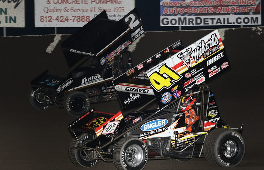 David Gravel (41) races under Carson Macedo during Friday's World of Outlaws NOS Energy Drink Sprint Car Series event at Tri-State Speedway. (Neil Cavanah Photo)