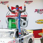 Drew Dollar scored his first ARCA Menards Series victory Saturday at Talladega Superspeedway.