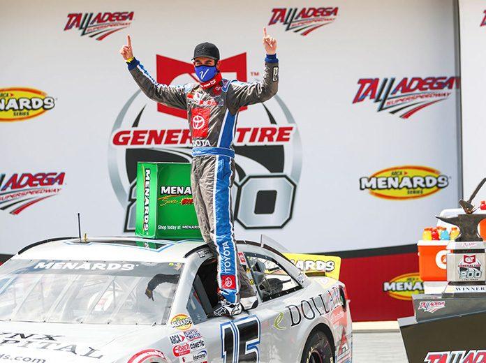 Drew Dollar scored his first ARCA Menards Series victory Saturday at Talladega Superspeedway.