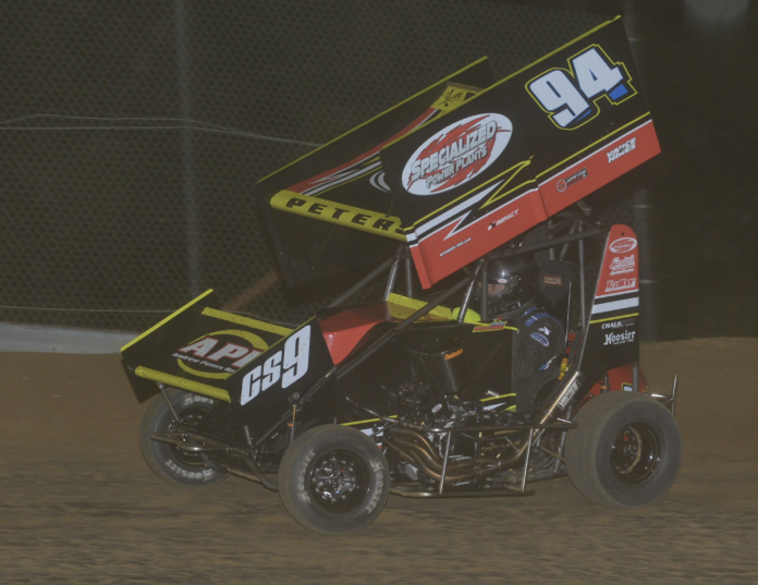 Andrew Peters raced to victory in Saturday's POWRi Engler Machine and Tool 600cc Outlaw Micro League event at Southern Illinois Raceway.