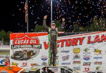 Jimmy Owens celebrates after winning Saturday's Clash at the Mag at Magnolia Motor Speedway. (Chris McDill Photo)