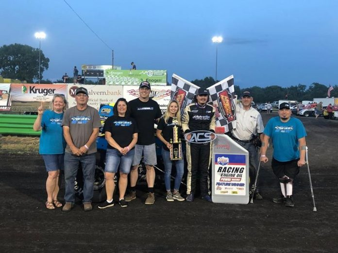 Riley Kreisel won Saturday's POWRi Lucas Oil WAR Sprint League and POWRi Lucas Oil Iowa Sprint League event at Adams County Speedway.