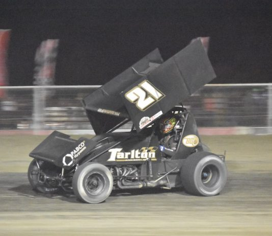 Spencer Bayston en route to victory at Keller Auto Speedway in Hanford, Calif. (Joe Shivak photo)