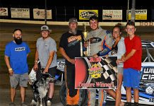 Tathan Burkhart raced to victory in the Hobby Stock Roundup Saturday at Dodge City Raceway Park.