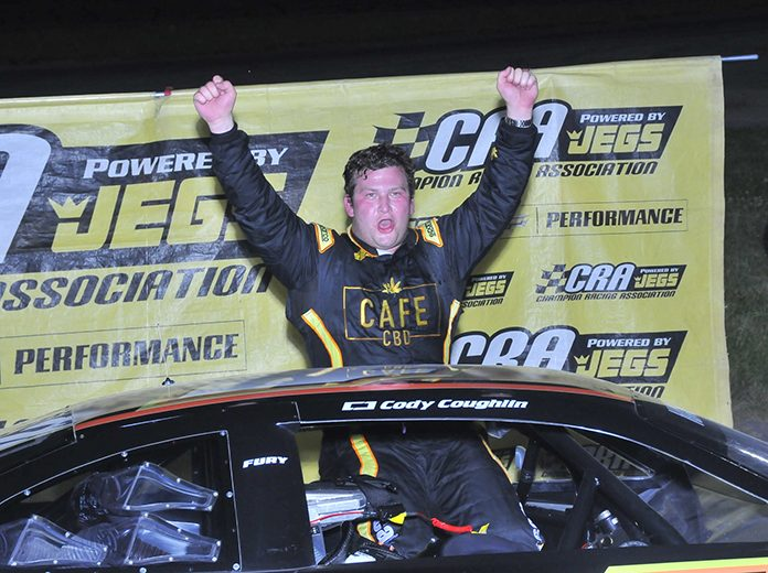 Cody Coughlin celebrates after winning Saturday's ARCA/CRA Super Series feature at Anderson Speedway. (Randy Crist Photo)