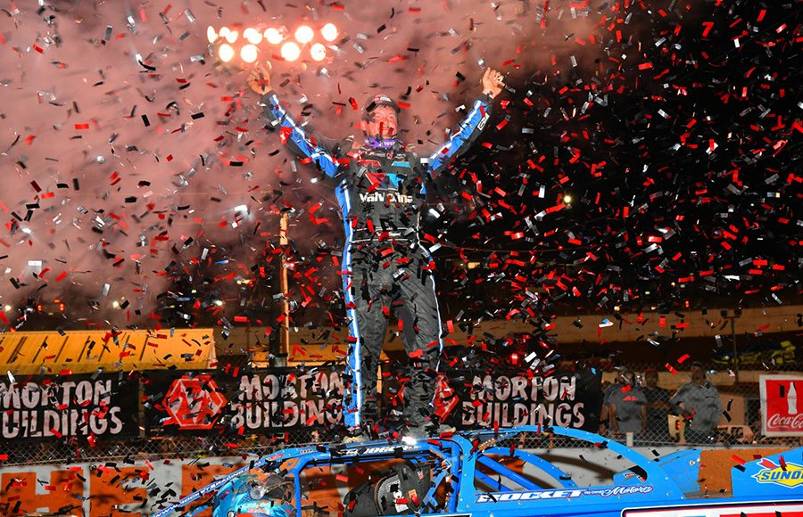 Brandon Sheppard celebrates after winning Friday's World of Outlaws Morton Buildings Late Model Series feature at Volunteer Speedway. (Michael Moats Photo)
