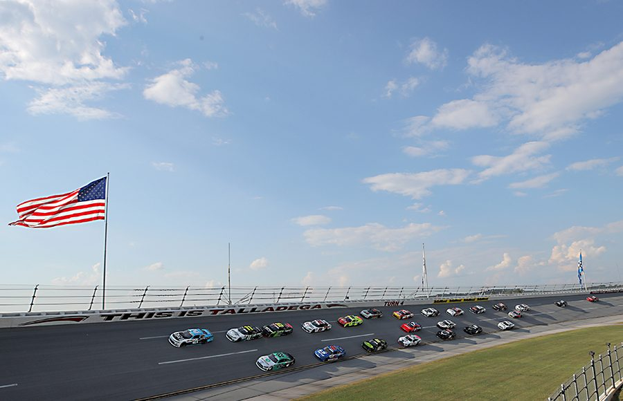Anthony Alfredo (21) leads the field during Saturday's NASCAR Xfinity Series Unhinged 300 at Talladega Superspeedway. (Chris Graythen/Getty Images Photo)