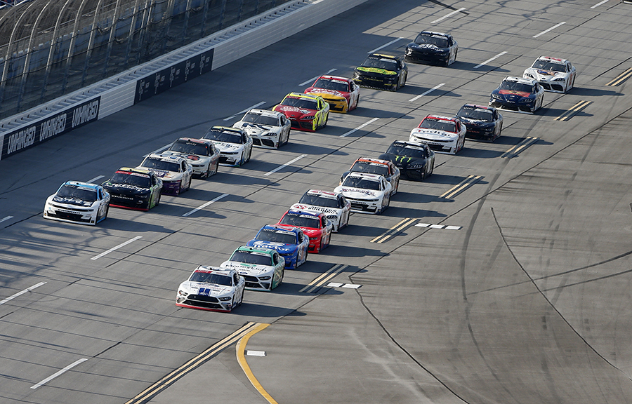 Chase Briscoe (98) leads the pack during Saturday's NASCAR Xfinity Series Unhinged 300 at Talladega Superspeedway. (Brian Lawdermilk/Getty Images Photo)