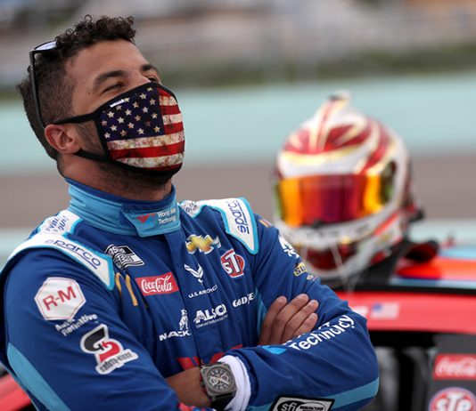 The FBI is investigating after a noose was found in the garage stall of Bubba Wallace's No. 43 entry on Sunday at Talladega Superspeedway. (Chris Graythen/Getty Images Photo)