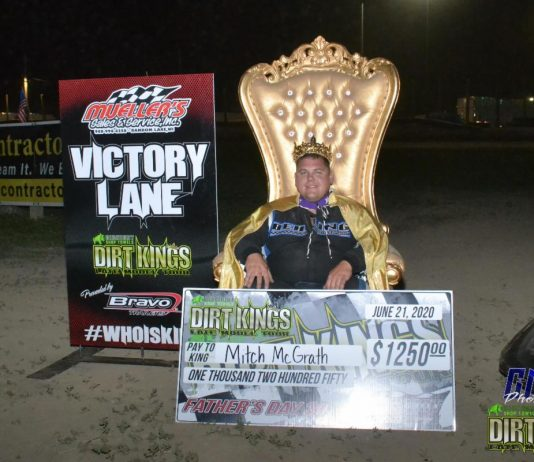Mitch McGrath wins the Father's Day 30 DiscountShopTowels.com Dirt Kings Late Model Tour race at Wilmot Raceway and was crowned King in Mueller's Sales & Service Victory Lane.