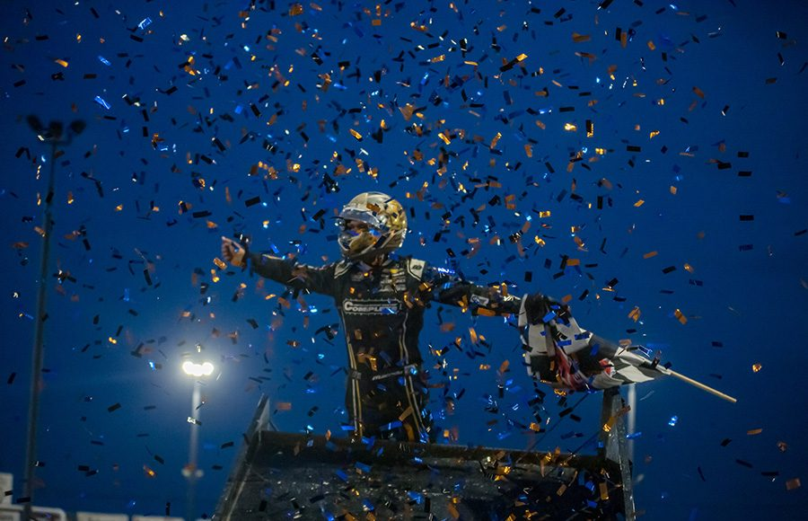 Carson Macedo celebrates after winning Saturday's World of Outlaws NOS Energy Drink Sprint Car Series feature at Tri-State Speedway. (Brad Plant Photo)