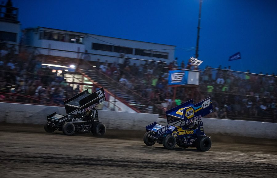 Carson Macedo (2) beats Brad Sweet to the checkered flag to win Saturday's World of Outlaws NOS Energy Drink Sprint Car Series event at Tri-State Speedway. (Brad Plant Photo)