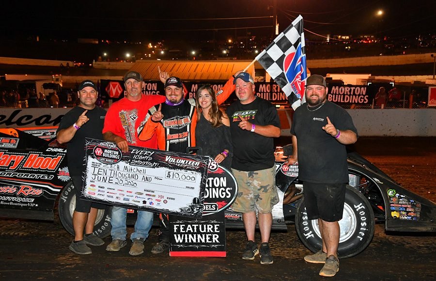 Zack Mitchell poses in victory lane with his team after winning Saturday's World of Outlaws Morton Buildings Late Model Series feature at Volunteer Speedway. (Michael Moats Photo)