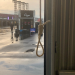 On Thursday NASCAR released this image of the noose that was found Sunday in the garage stall of the Richard Petty Motorsports Chevrolet driven by Bubba Wallace. (Image Courtesy of NASCAR)