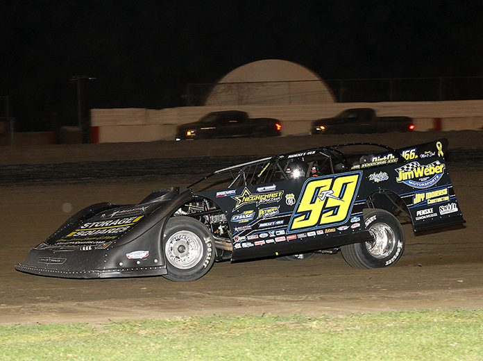 Frank Heckenast Jr. raced to a $5,000 victory in Thursday's MARS Racing Series feature at Davenport Speedway. (Mike Ruefer Photo)