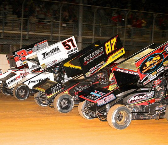 The field for Wednesday's Ollie's Bargain Outlet All Star Circuit of Champions prepares to go racing Wednesday night at Port Royal Speedway. (Dan Demarco Photo)
