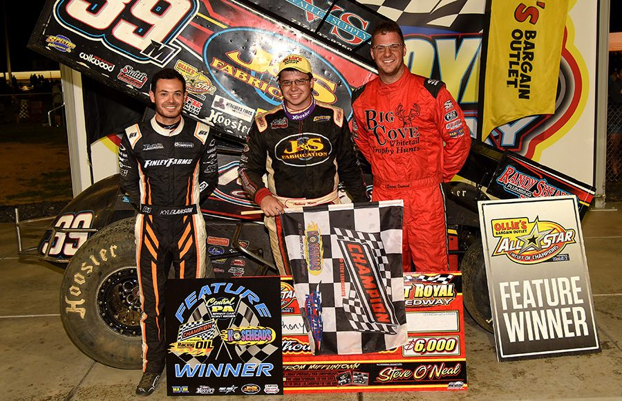Anthony Macri (center) outran Kyle Larson (left) and Danny Dietrich (right) to win Wednesday's Ollie's Bargain Outlet All Star Circuit of Champions event at Port Royal Speedway. (Paul Arch Photo)