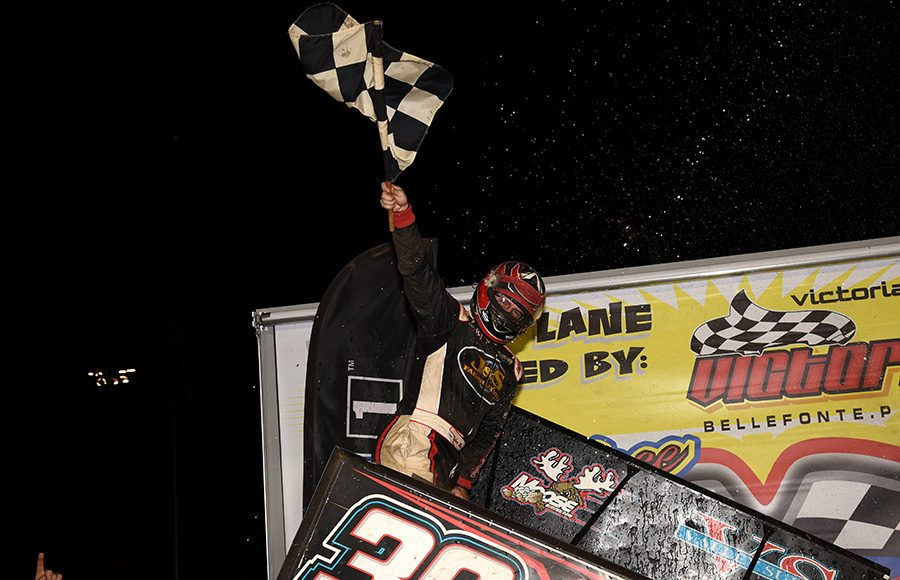 Anthony Macri celebrates after winning Wednesday's Ollie's Bargain Outlet All Star Circuit of Champions event at Port Royal Speedway. (Paul Arch Photo)