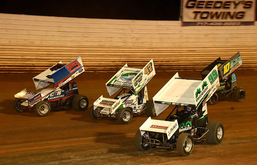Drivers battle for position during Wednesday's Ollie's Bargain Outlet All Star Circuit of Champions event at Port Royal Speedway. (Paul Arch Photo)