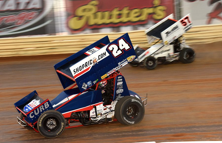 Rico Abreu (24) battles Kyle Larson during preliminary action as part of Wednesday's Ollie's Bargain Outlet All Star Circuit of Champions event at Port Royal Speedway. (Paul Arch Photo)