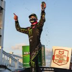 Ty Gibbs celebrates after winning Friday's ARCA Menards Series race at Pocono Raceway. (Adam Glanzman/ARCA Photo)