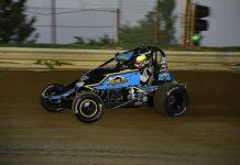 Riley Kreisel en route to victory at Charleston Speedway. (Mark Funderburk photo)