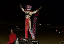Buddy Kofoid in victory lane at Charleston Speedway. (Mark Funderburk photo)