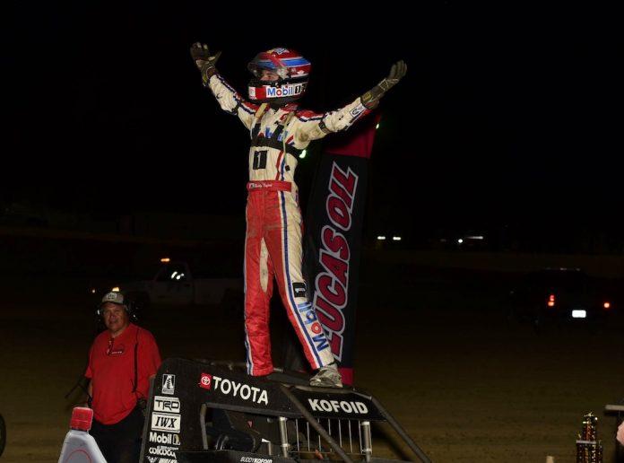 Buddy Kofoid in victory lane at Charleston Speedway. (Mark Funderburk photo)
