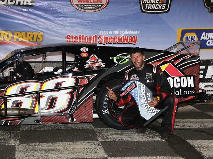Keith Rocco in victory lane after winning Friday's SK Modified feature at Stafford Motor Speedway.