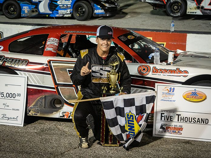 Stephen Nasse in victory lane on Friday night at Five Flags Speedway. (Jason Reasin Photo)