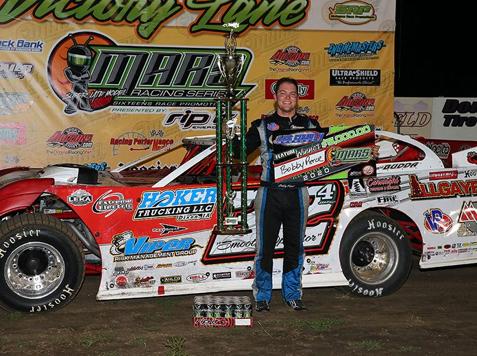 Bobby Pierce in victory lane Friday night at Lee County Speedway. (Mike Ruefer Photo)