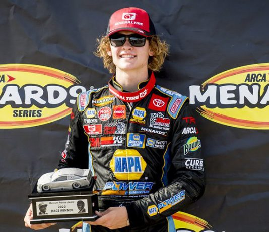 Jesse Love earned his first ARCA Menards Series West win Saturday at the Utah Motorsports Campus. (ARCA Photo)