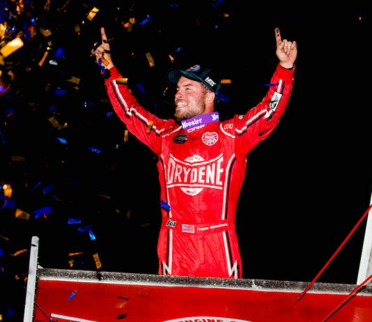 Logan Schuchart in victory lane at the Jackson Nationals. (Trent Gower photo)