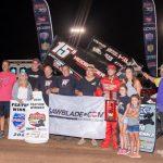 Sam Hafertepe Jr. in victory lane. (ASCS photo)