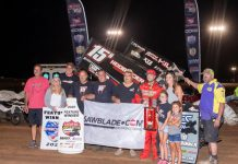 Sam Hafertepe Jr. in victory lane. (ASCS photo)