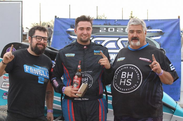 Michael Fanelli in victory lane Saturday afternoon at El Paso County Raceway in Colorado. (Kayla Marshall Photo)
