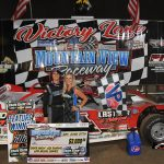Wil Herrington in victory lane Saturday at Mountain View Raceway. (Greg Farmer Photo)