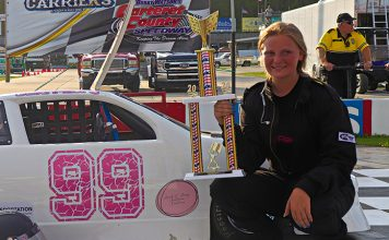 Carsyn Gillikin in victory lane at Carteret County Speedway. (Andy Marquis photo)