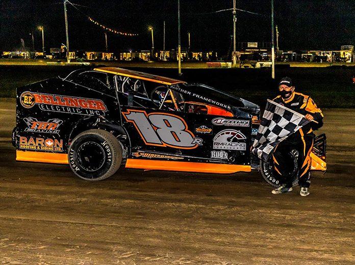 Brad Rouse in victory lane Saturday at Merrittville Speedway. (Nitroman Media Photo)