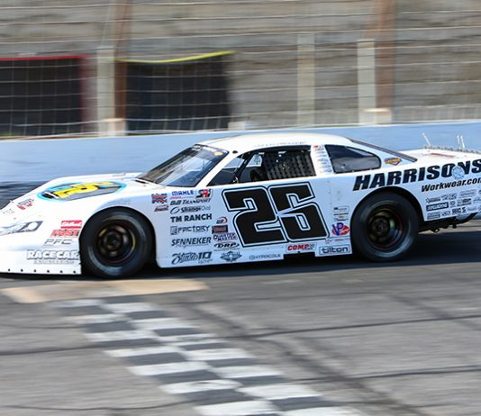 Bubba Pollard, shown here recently at Hickory Motor Speedway, earned $15,000 for winning Saturday's 100-lap feature at Five Flags Speedway. (Adam Fenwick photo)