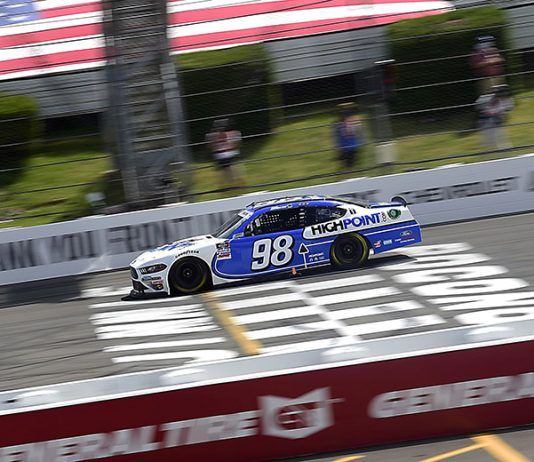 Chase Briscoe crosses the finish line to win Sunday's NASCAR Xfinity Series race at Pocono Raceway. (Jared C. Tilton/Getty Images Photo)