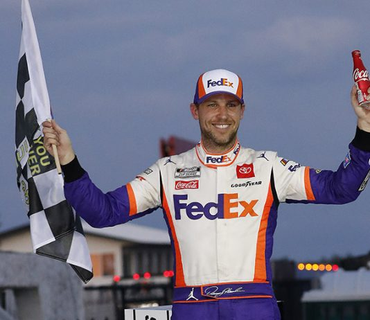 Denny Hamlin in victory lane following Sunday's NASCAR Cup Series race at Pocono Raceway. (HHP/Andrew Coppley Photo)