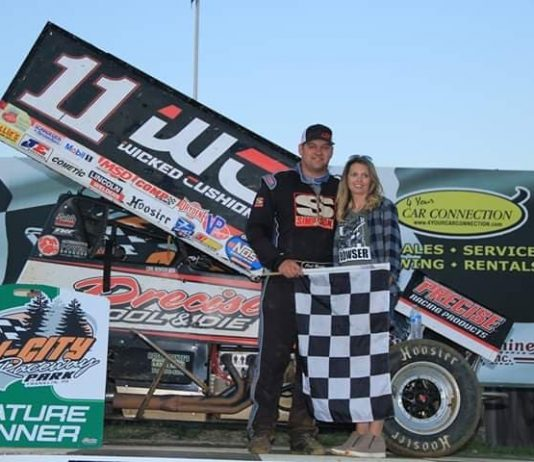 Carl Bowser in victory lane Sunday at Tri-City Raceway Park.