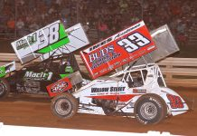 Mark Smith (38) races ahead of Jared Esh during Sunday's PA Speedweek program at Selinsgrove Speedway. (Dan Demarco photo)