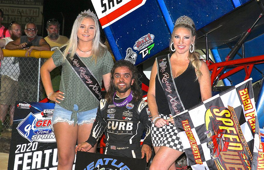 Rico Abreu poses in victory lane after winning Monday's PA Speedweek feature at Lincoln Speedway. (Dan Demarco Photo)